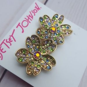 Betsey Johnson Blooming Betsey Pave Stud Earrings